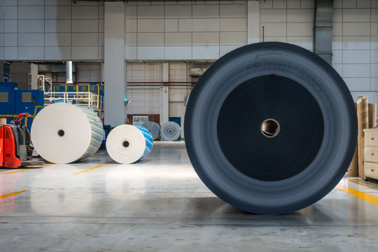 Paper Rolls Idle on Factory Floor Warehouse Printing Production