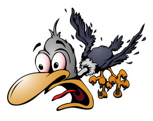 Crazy Cartoon Bird Vector Illustration