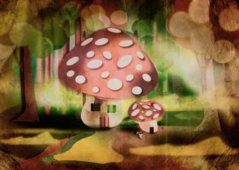 Funghi, illustrazione fiabesca retrò.