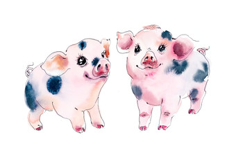 Beatiful watercolor piggy. Hand painting illustration.