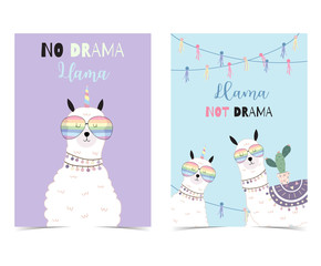 Blue violet hand drawn cute card with llama, glasses,cactus in summer.No drama llama, Llama not drama
