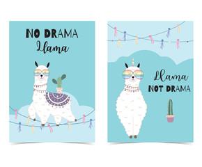 Black green hand drawn cute card with llama, glasses,cactus in summer.No drama llama, Llama not drama