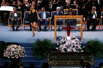 Singer Ariana Grande performs at the funeral service for the late singer Aretha Franklin at the Greater Grace Temple in Detroit
