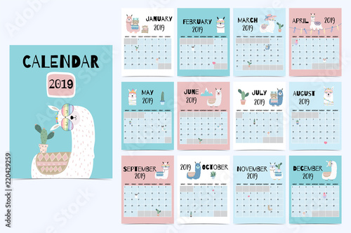 Cute Monthly Calendar 2019 With Llama Luggage Cactus Geometrical