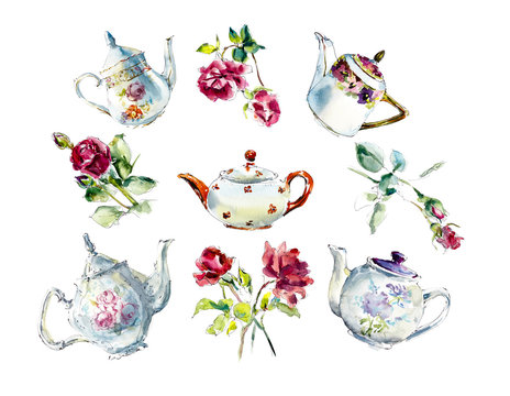 Collection teapots with roses. Tea Time Set. Watercolor hand drawn illustration.