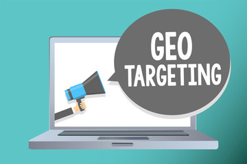 Handwriting text writing Geo Targeting. Concept meaning Digital Ads Views IP Address Adwords Campaigns Location Man holding megaphone loudspeaker speech bubble message speaking loud