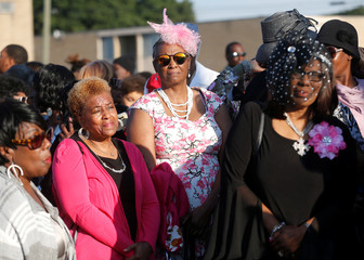 Members of the general public wait in line hoping to attend funeral services for the late singer Aretha Franklin at Greater Grace Temple in Detroit,
