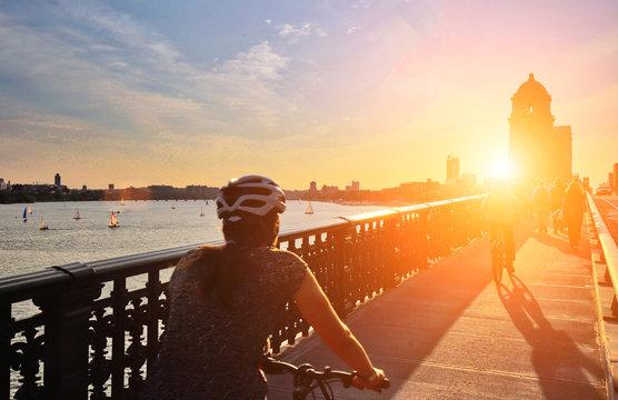 Boston Longfellow bridge at sunset