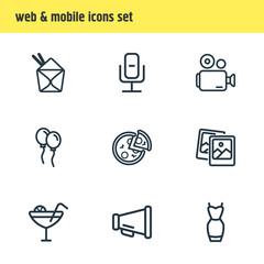 Vector illustration of 9 celebrate icons line style. Editable set of recording mic, video camera, cocktail and other icon elements.