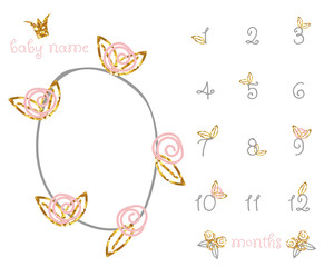 Baby milestone fashion blanket with gold glitter floral elements. Vector hand drawn illustration.
