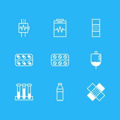 Vector illustration of 9 health icons line style. Editable set of bandage, bottled water, plaster icon elements.