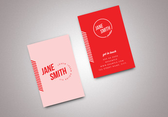 Business Card Layout with Red and Pink Accents