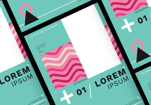 Event Poster Layout with Geometric Elements