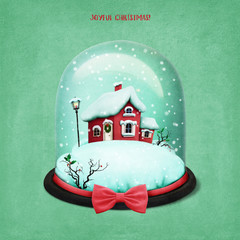 Holiday greeting illustration or postcard or poster with Snow globe  Christmas house for Christmas or new Year.