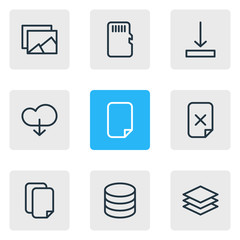 Vector illustration of 9 storage icons line style. Editable set of database, arrow down, document and other icon elements.