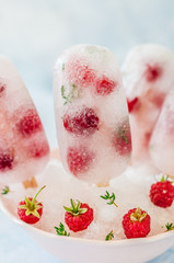 Soda, Raspberry and Thyme Ice Pops