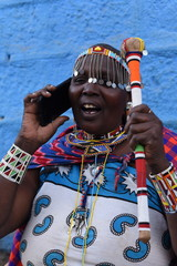 Masai woman on the phone