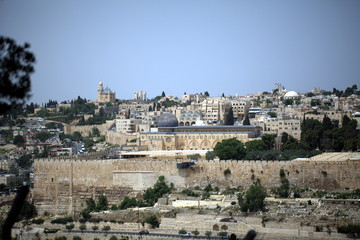 view of the old city of Jerusalem in Israel with an olive mountain