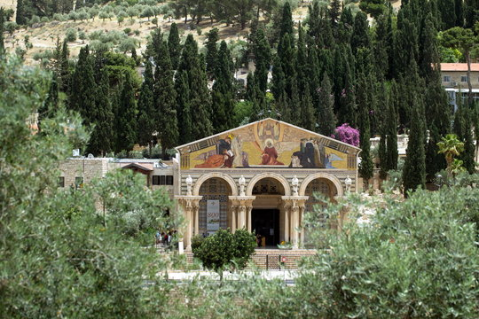 Church of All Nations in Jerusalem at the foot of Mount of Olives