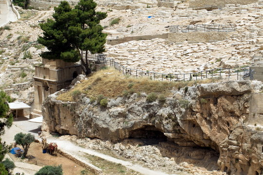Tomb of Zechariah. An ancient monument carved from the rock in Jerusalem