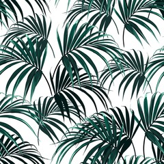 Beautiful seamless vector floral summer  background with tropical palm leaves. Perfect for wallpapers, web page backgrounds, surface textures, textile. White background.