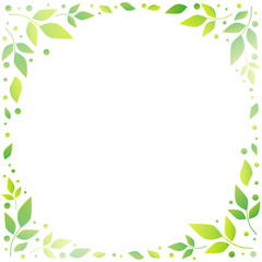 Decorative frame of green leaves and dots on light green background in form of circle for decoration, text, inscription, illustration, photo, book sheet, notebook, album, wedding invitation,postcard