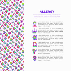 Allergy concept with thin line icons: runny nose, dust, streaming eyes, lactose intolerance, citrus, dust mite, flower, mold, peanut, allergy test, edema. Vector illustration, print media template.