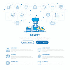 Bakery concept: baker with croissant. Thin line icons: toast bread, pancakes, flour,, donut, pretzel, cookies, gingerbread man, cupcake, pizza, waffle. Modern vector illustration, web page template.