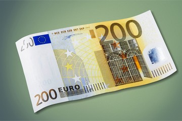 200 Euro banknote on white background
