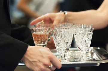 Beverage serving at wedding