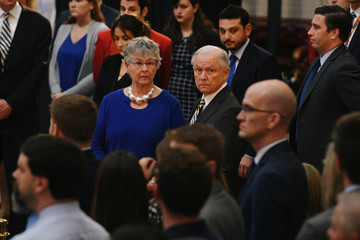 Jeff Sessions, Attorney General of the Unite States and his wife Mary, visit the Rotunda where Senator McCain lies in state at the U.S. Capitol in Washington