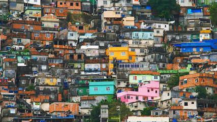 Aerial view of Rio's Rocinha favela, on a sunny afternoon. Wall mural