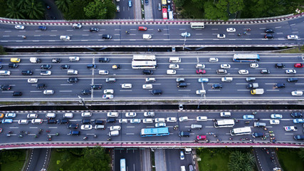 Traffic jam on the Semanggi road interchange