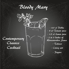 Cocktail bloody mary in sketch style for menu, cocktail cards 1