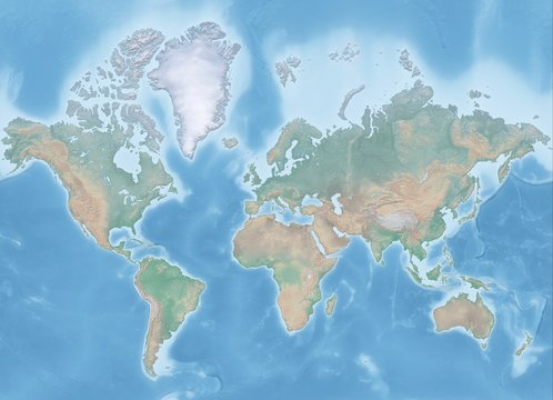 Map of the world in Mercator projection (no Antarctica) - shaded relief, the map colors gradually blend into one another across regions and from lowlands to highlands - 3D rendering