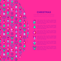 Christmas concept with thin line icons: Santa Claus, snowflake, reindeer, candy cane, polar bear in hat, angel, mitten, candle, penguin, garland. Vector illustration for print media, web page template