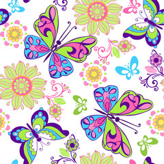 Seamless pattern of bright butterflies and flowers. Decorative ornament backdrop for fabric, textile, wrapping paper.