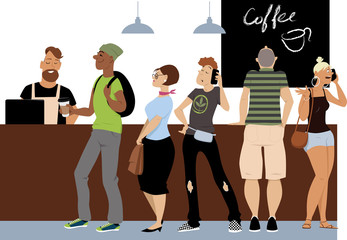 Diverse group of people standing in line to a cash register in a coffee shop, EPS 8 vector illustration