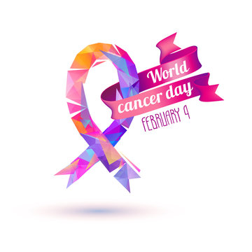 World cancer day. February 4. Pink ribbon