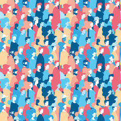 Social people group seamless pattern background