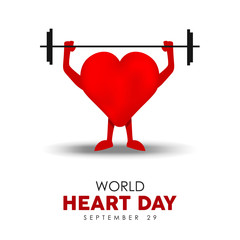 World Heart Day card for exercise and health