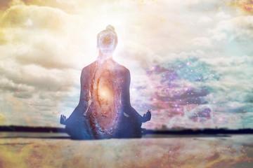 Yoga and meditation symbol concept.