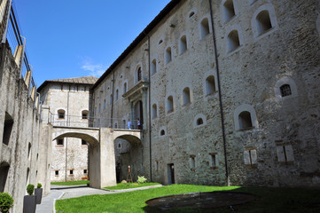 Bivacco Lampugnani, Fort Bard, Valle d'Aosta, Italy - August 21, 2018: Historic military construction defense Fort Bard. Medieval fortress in Italian Alps.