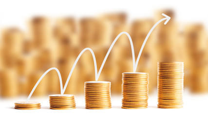 Rows of gold coins for finance and banking concept