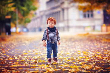 cute redhead toddler baby boy walking among fallen leaves in autumn park