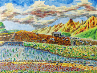 Sunny mountain landscape. Light clouds in the sky. The shepherd's hut and the river in the foreground. The mountain range goes into the distance. Watercolor painting on paper.