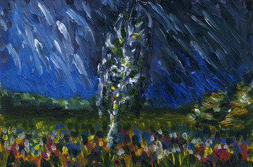 Lonely tree in the field. Night with a thunder and rain. Alot of flowers grow in the meadow. Bright colors. Oil painting on canvas.