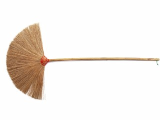 Hand made broom On a white background