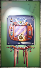 Foto op Canvas Imagination Steampunk, strange and vintage television