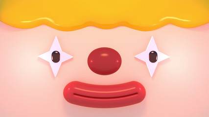 Cartoon happy face clown close up. 3d rendering picture.